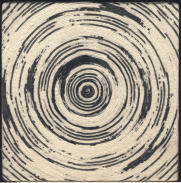 Spiral on wooden box, chinese ink on cotton, 20 x 20 cm